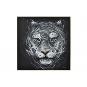 TA5669 - PAINTING PANTHER WHITE/BLACK 80*80 SILVER FRAME - GALLERY