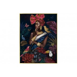 TA5671 - PAINTING WOMAN TROPICAL WORLD 60*80 GOLD FRAME - GALLERY