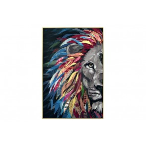 TA5673 - PAINTING FANTASY LION 60*90 GOLD FRAME - GALLERY