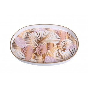 UD7694 - OVAL TRAY PASTEL LEAVES WHITE/PINK - HOME
