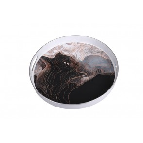UD7695 - ROUND TRAY MARBLE BLACK/GREY/WHITE - HOME