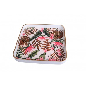 UD7698 - SQUARE TRAY HIBISCUS LEAVES - HOME