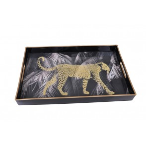UD7716 - RECTANGULAR TRAY PANTHER WITH PALM TREES - HOME