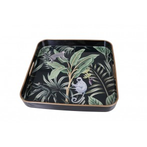 UD7717 - SQUARE TRAY TROPICAL LEAVES/MONKEYS - HOME