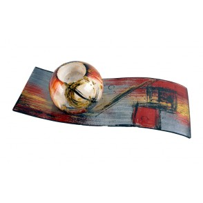 VA10406 - CANDLE HOLDER ON PLATE ABSTRACT SHAPES - ACAPULCO