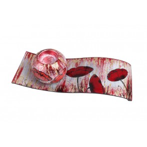 VA10485 - CANDLE HOLDER ON PLATE RED POPPIES - ACAPULCO
