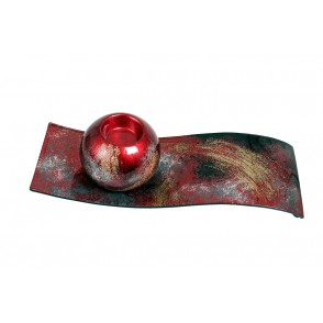 VA10491 - CANDLE HOLDER ON PLATE ARTY RED/GOLD - ACAPULCO