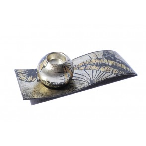 VA10510 - CANDLEHOLDER ON PLATE TROPICAL LEAVES - ACAPULCO