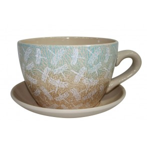 AJ1137 - POT DECOR LIBELLULE FILIGRANE BRUN BLEU - MAXITASSE
