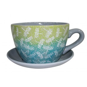AJ1138 - POT DECOR LIBELLULE FILIGRANE GRIS BLEU - MAXITASSE
