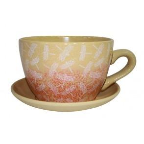 AJ1139 - POT DECOR LIBELLULE FILIGRANE OCRE ROUGE - MAXITASSE