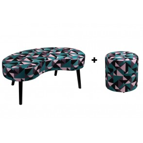AT1037 - SET BANC ET POUF MOTIF GEOMETRIQUE - CONFORT
