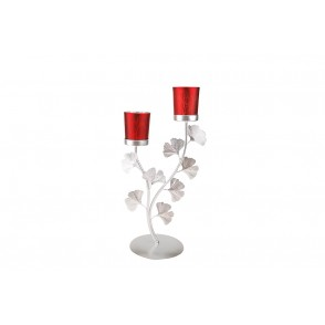 BJ3358 - BOUGEOIR DOUBLE GINKGO ROUGE/ARGENT - SCINTILLE