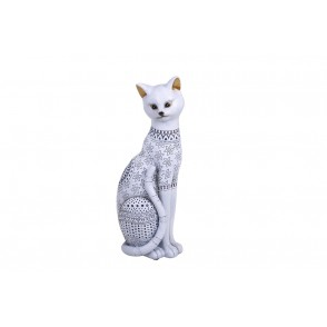 DG3172 - CHAT ASSIS GRAND MODELE BLANC - CRISTAL