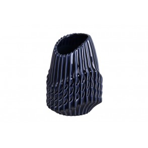 DT2730 - VASE OUV. OBLIQUE STRIES BLEU NUIT MM - CHROME