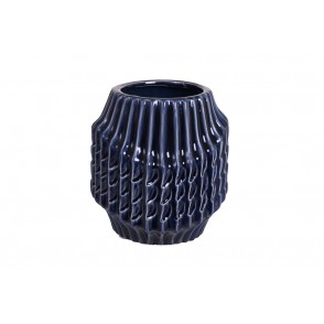 DT2731 - VASE COL LARGE STRIES BLEU NUIT PM - CHROME