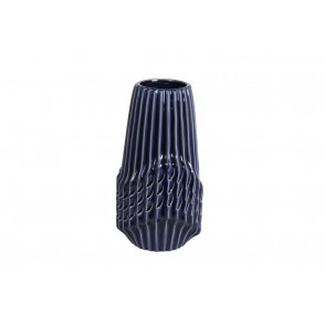 DT2732 - VASE CYLINDRE STRIES BLEU NUIT MM - CHROME