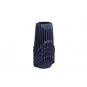 DT2733 - VASE CYLINDRE STRIES BLEU NUIT GM - CHROME