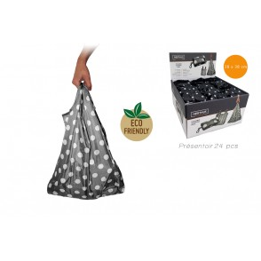 FIH309EX - SAC SHOPPING PLIABLE NOIR/BLC EN PRESENTOIR DE 24  - VIN BOUQUET