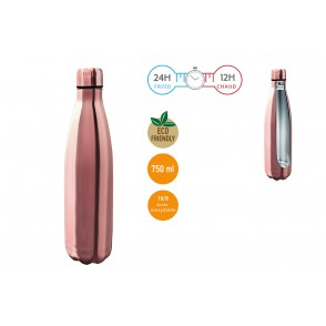 FIH595 - BOUTEILLE INOX 750 ML DOUBLE PAROI OR ROSE - NERTHUS