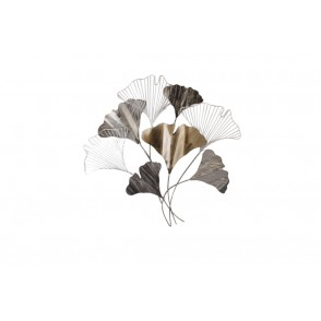 MD4853 - FEUILLES GINKGO STYLISEES GRIS/CHAMPAGNE - BEAUX-ARTS