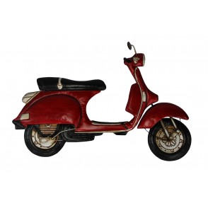 MD4916 - SCOOTER VINTAGE ROUGE DECO MURALE METAL - BEAUX-ARTS