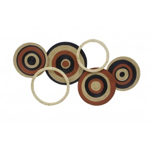 MD4931 - DISQUES TERRACOTTA EN METAL  ET CERCLES ROTIN - BEAUX-ARTS