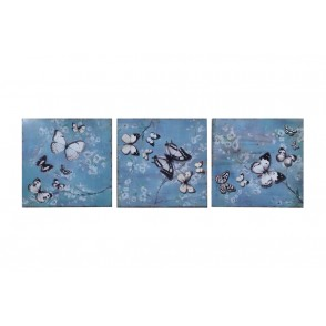 MD6148 - ENSEMBLE 3 TABLEAUX METAL PAPILLONS - BEAUX-ARTS
