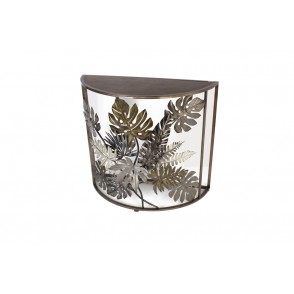 MM01215 - CONSOLE 1/2 LUNE DECOR TROPICAL - ART DE FER
