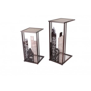MM01243 - ENSEMBLE 2 SELLETTES VILLE BUILDINGS DECOUPES - ART DE FER