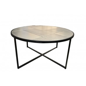 MM01301 - TABLE BASSE RONDE NOIR/CHAMPAGNE - ELITE