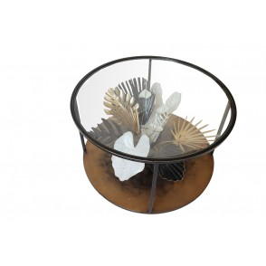 MM01344 - TABLE BASSE 3D BOUQUET TROPICAL NOIR/OR/BLANC - ART DE FER