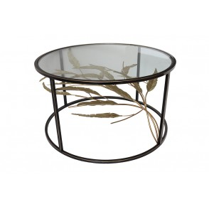 MM01354 - TABLE BASSE 3D RONDE FEUILLAGE MOUVEMENT NOIR/OR - ART DE FER
