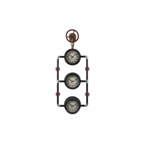 PE1847 - PENDULE TRIO PARIS NYC LONDON INDUSTRIELLE - TEMPO