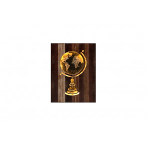 TA5401 - TABLEAU BOIS LED DECOR GLOBE TERRESTRE - GALLERY