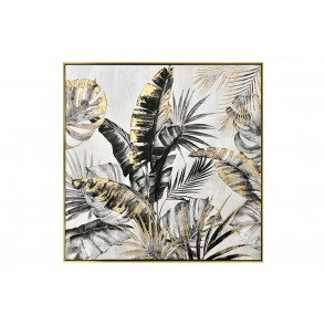 TA5572 - FEUILLAGE JUNGLE NOIR/OR CADRE OR 80*80 - GALLERY