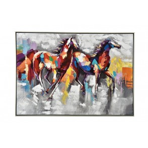 TA5580 - TABLEAU CHEVAUX MULTICOLORES 70*100 CADRE ARGENT - GALLERY