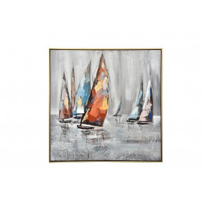 TA5592 - TABLEAU VOILIERS MULTICOLORES 80*80 CADRE OR - GALLERY