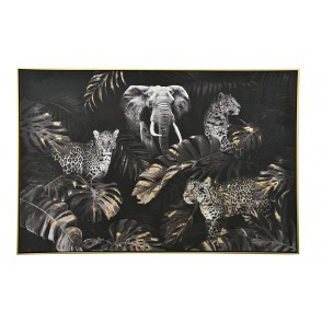 TA5601 - TABLEAU SAFARI ANIMAUX FEUILLE OR 80*120 CADRE OR  - GALLERY