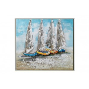 TA5615 - TABLEAU VOILIERS 80*80 CADRE ARGENT - GALLERY
