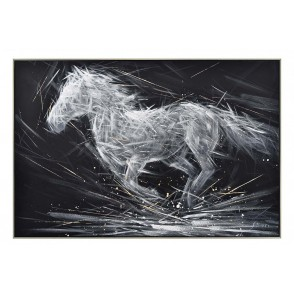 TA5668 - TABLEAU CHEVAL BLANC/NOIR/OR 120*80 CADRE ARGENT - GALLERY