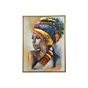 TA5677 - TABLEAU FEMME COIFFE MULTICOLORE 60*80 CADRE OR - GALLERY