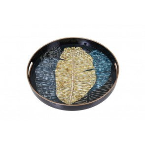 UD7712 - PLATEAU ROND FEUILLAGE OR/BLEU - HOME