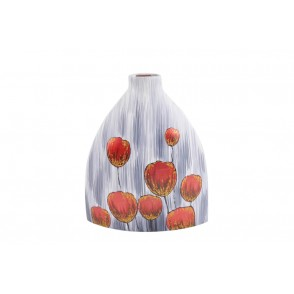 VA10239 - VASE CERAMIQUE DECOR TULIPES ROUGE DOREE - ACAPULCO