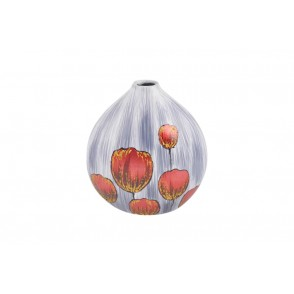 VA10240 - VASE BOULE DECOR TULIPES ROUGE DOREE - ACAPULCO