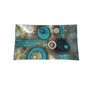 VA10268 - PLAT RECTANGLE DECOR COSMIC BLEU/GRIS - ACAPULCO