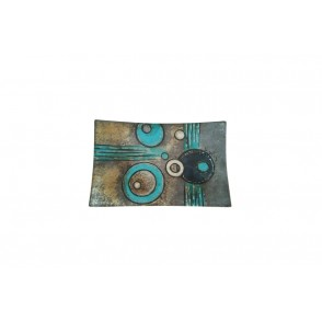 VA10270 - PLAT RECTANGLE PM DECOR COSMIC BLEU/GRIS - ACAPULCO