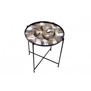 VA10387 - TABLE METAL DECOR CERCLES NOIR/OR  - ACAPULCO