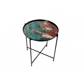 VA10391 - TABLE METAL DECOR ABSTRAIT COL BLEU/AMBRE - ACAPULCO