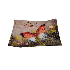 VA10415 - PLAT RECTANGULAIRE DECOR PAPILLON - ACAPULCO